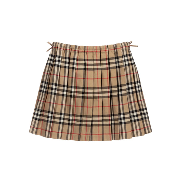 Girls Beige Check Cotton Skirt