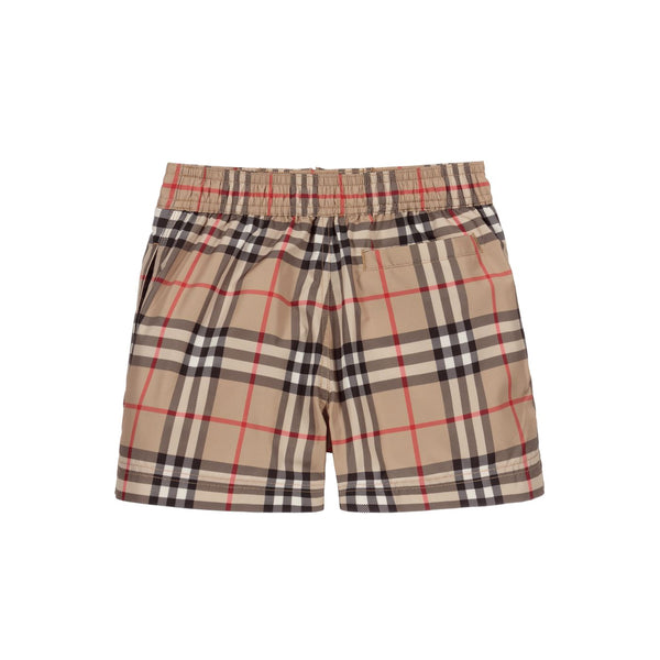 Boys Beige Check Swim Shorts
