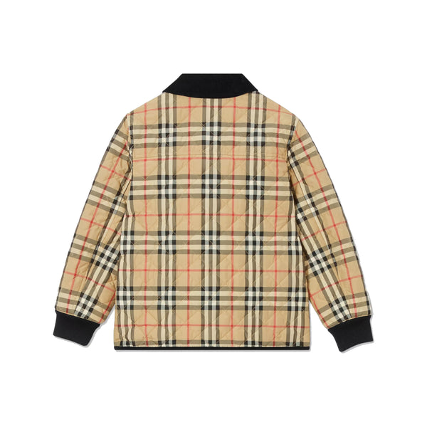 Boys Beige Corduroy Check Quilted Jacket