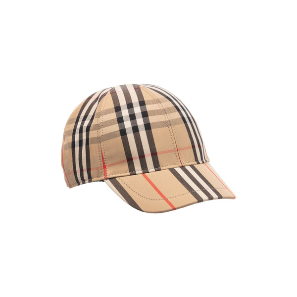 Boys & Girls Beige Check Cotton Cap