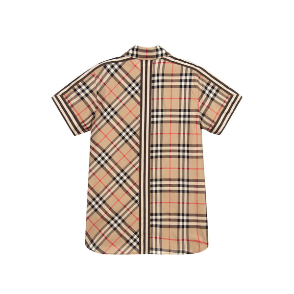 Boys Beige Check Cotton Shirt