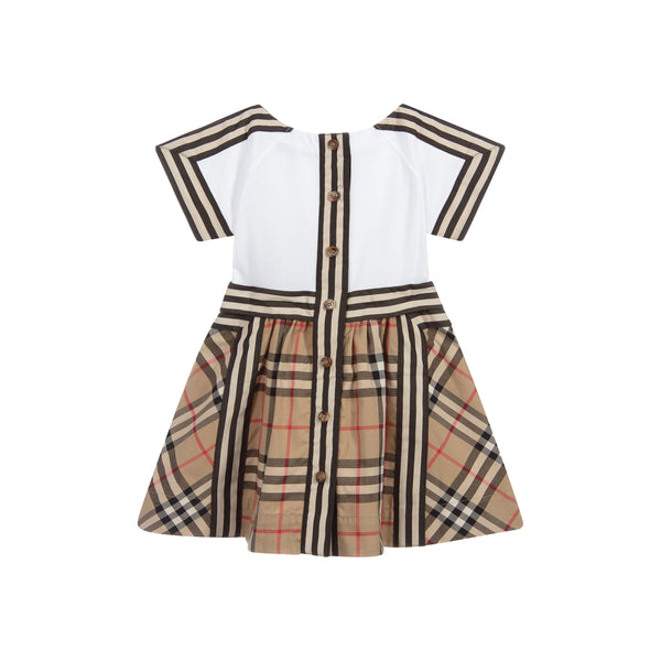 Baby Girls Beige & White Check Cotton Dress