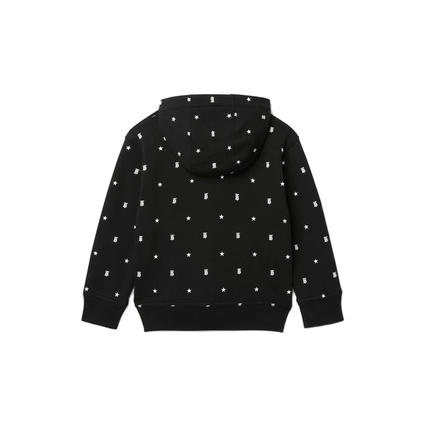 Boys Black Logo Hooded Zip-up Top