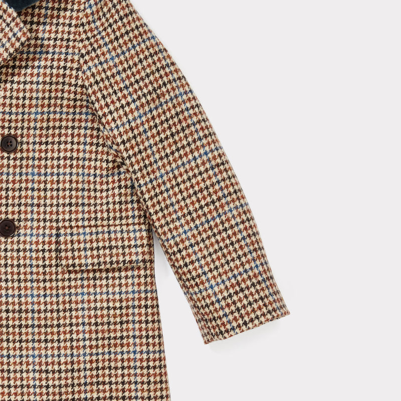 Boys & Girls Beige Wool Check Wool Coat