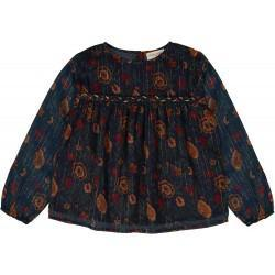 Girls Navy Lndian Flower Cotton Blouser
