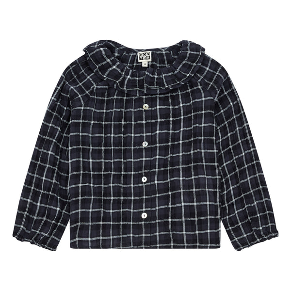 Girls Black Check Blouse