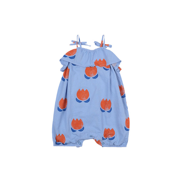 Baby Girls Blue Printing Cotton Romper
