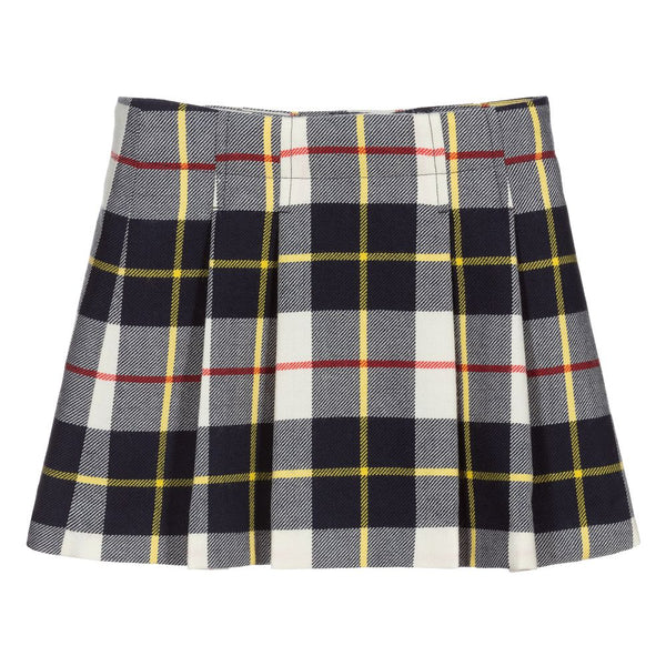 Girls White Check Skirt
