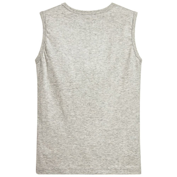 Boys Light Grey Logo Printed Tank Top