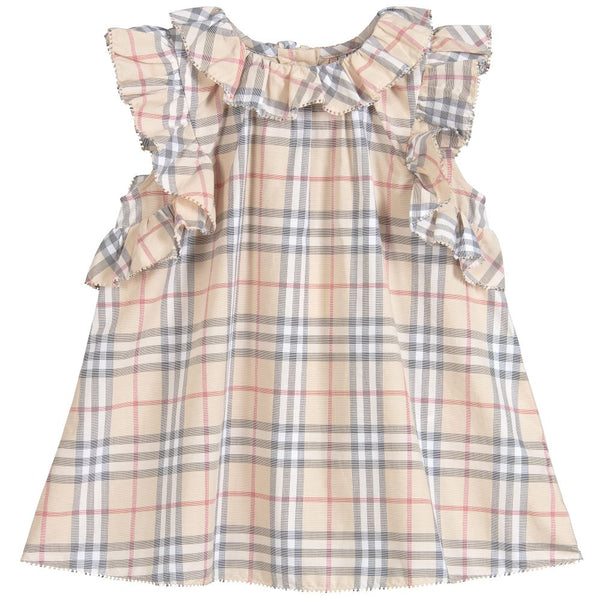 Baby Pale Stone Check Cotton Dress