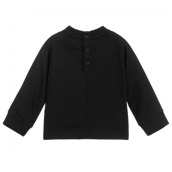 Baby Boys & Girls Black Cotton T-Shirt