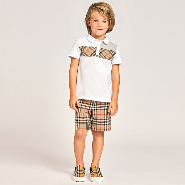 Boys Beige Check Cotton Shorts