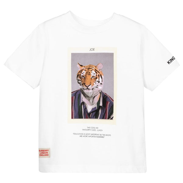 Boys White Tiger Cotton T-Shirt
