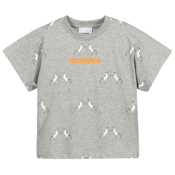 Girls Grey Melange Cotton T-Shirt