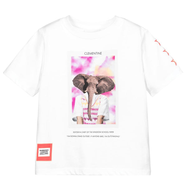 Girls White Elephent Cotton T-Shirt
