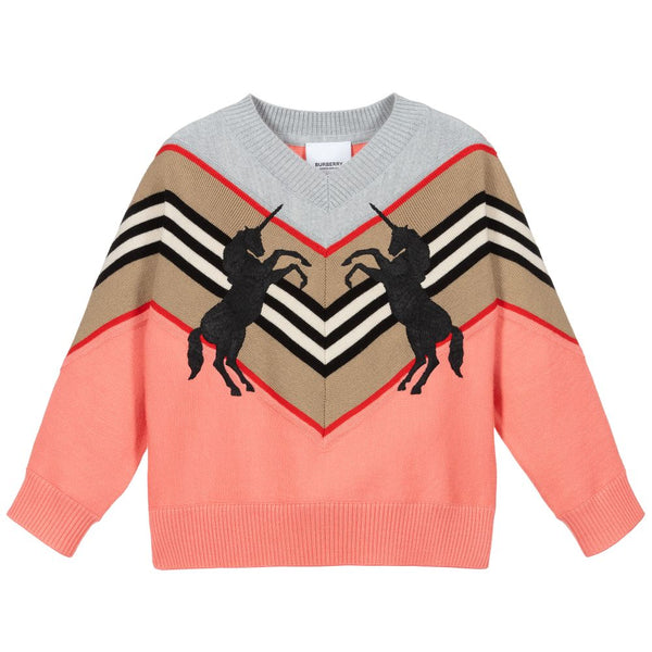 Girls Peach Unicorn Wool Jumper