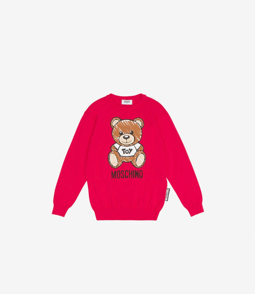 Girls Red Toy Cotton Sweater