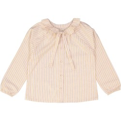 Girls Pink Stripes Gold Lurex Cotton Blouser