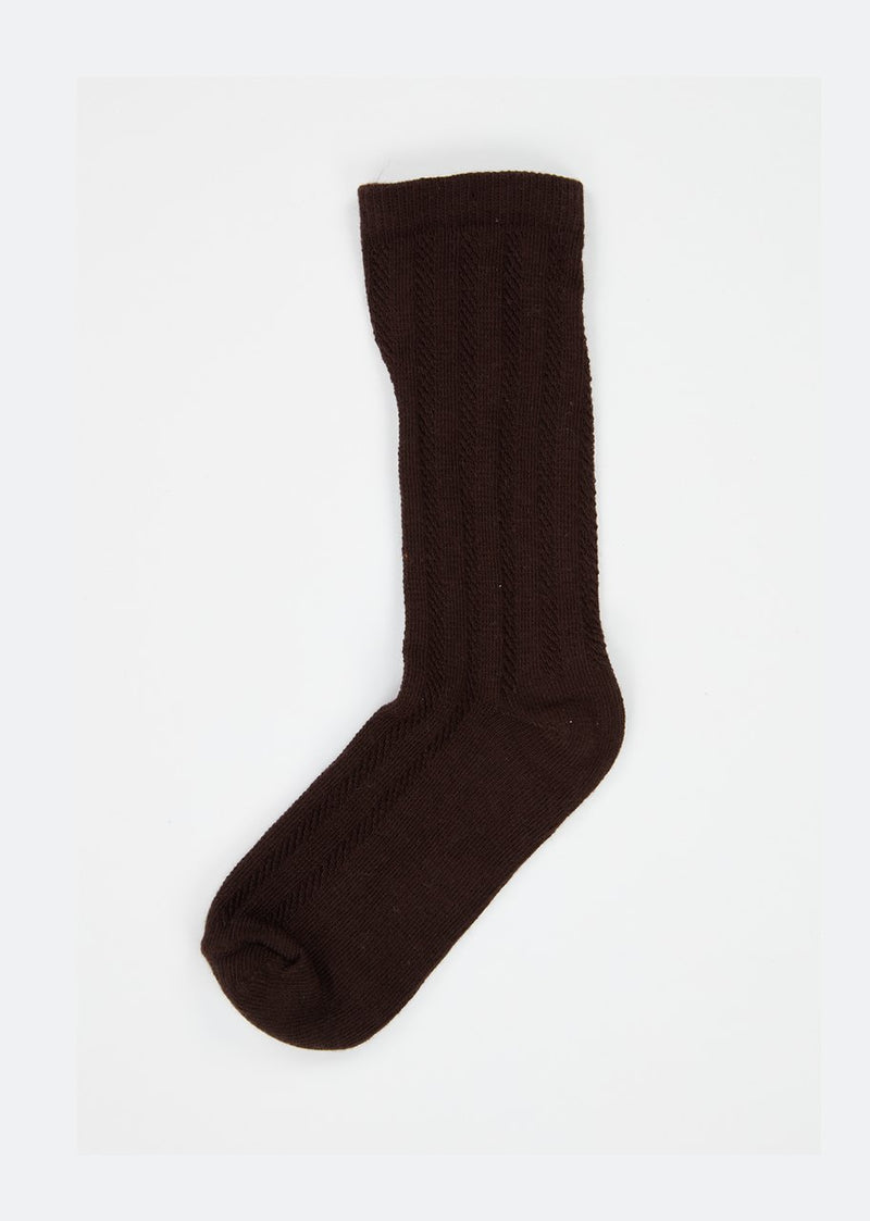 Boys & Girls Dark Brown Pointelle Ankle Socks