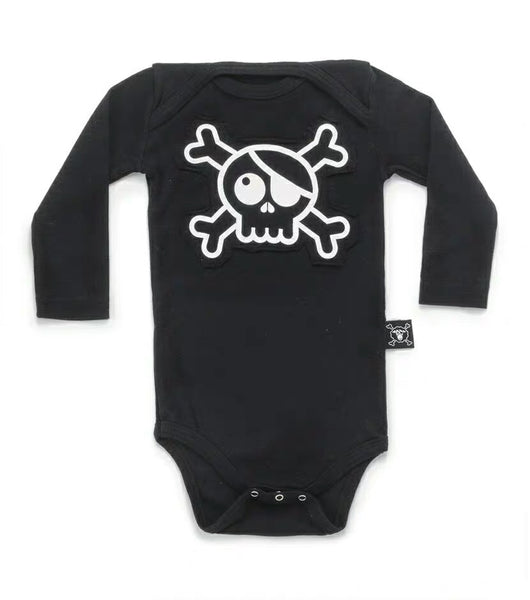 Baby Boys & Girls Black Skull Cotton Playsuit