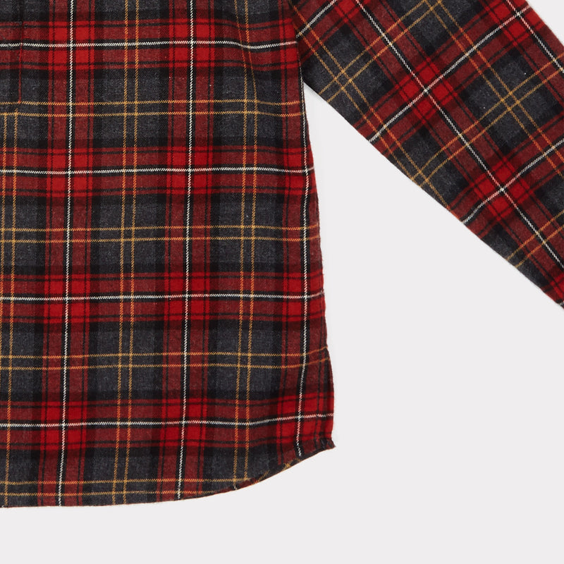 Girls & Boys Tartan Red Cotton Shirt