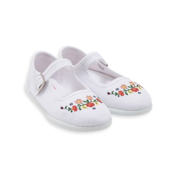 Baby Girls Ecru Embroided Slippers With Buckle