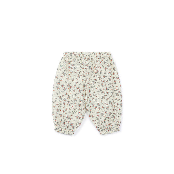 Baby Beige Flower Cotton Trousers