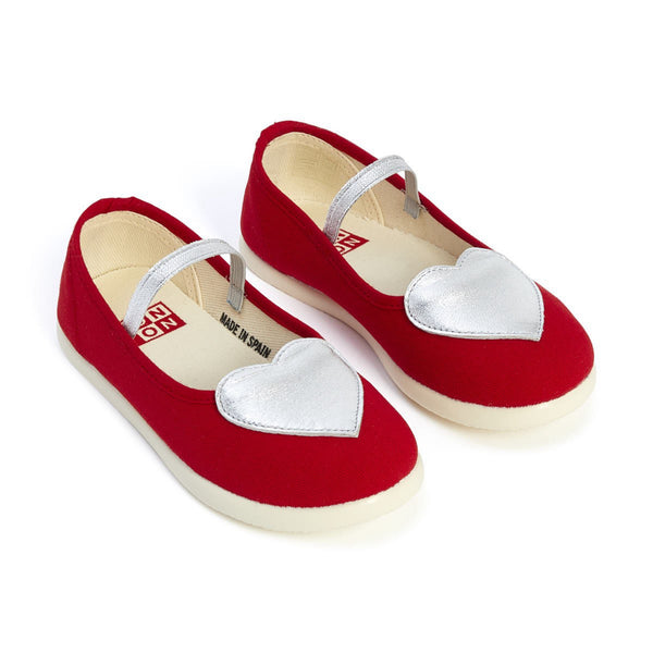 Girls Red Cotton Hearts Slippers