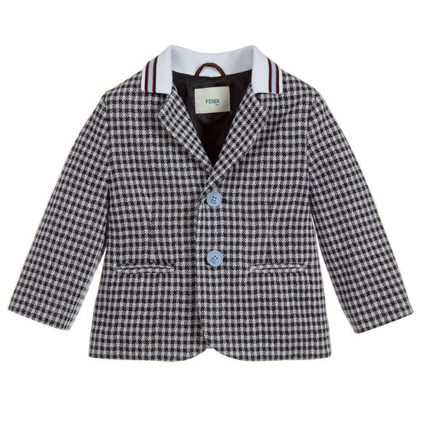 Baby Boys White & Blue Cotton Coat