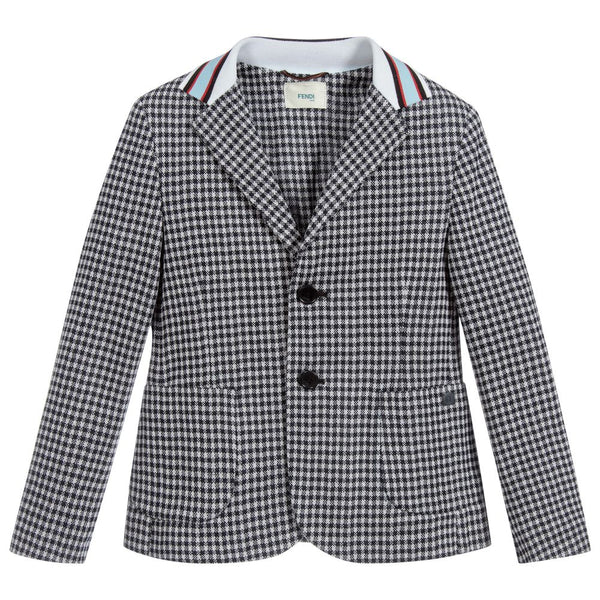 Boys White & Blue Check Cotton Coat