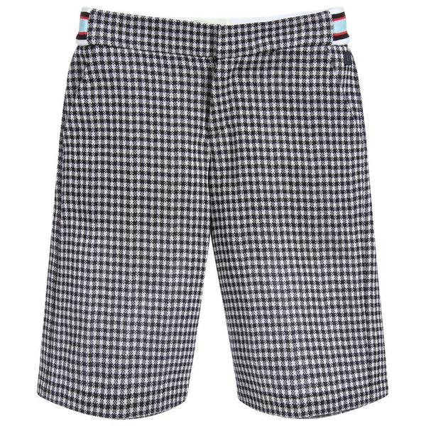 Boys White & Blue Check Shorts