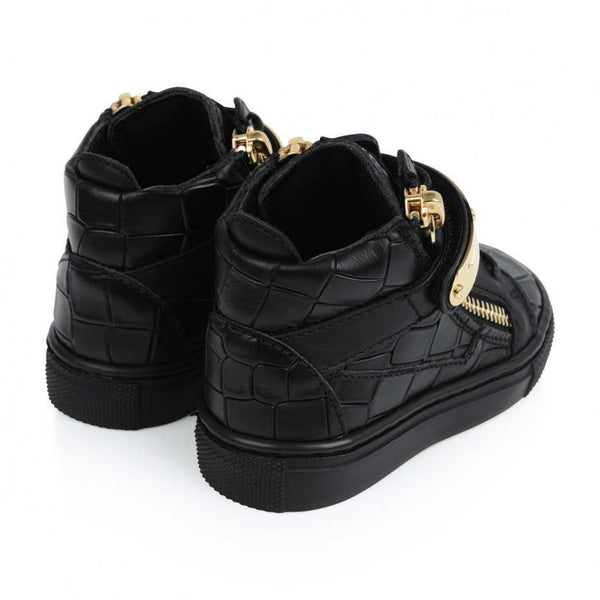 Baby Black Printed Calf Leather Sneaker