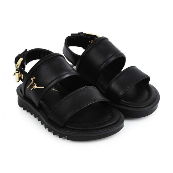 Baby Black Calf Leather Sandal