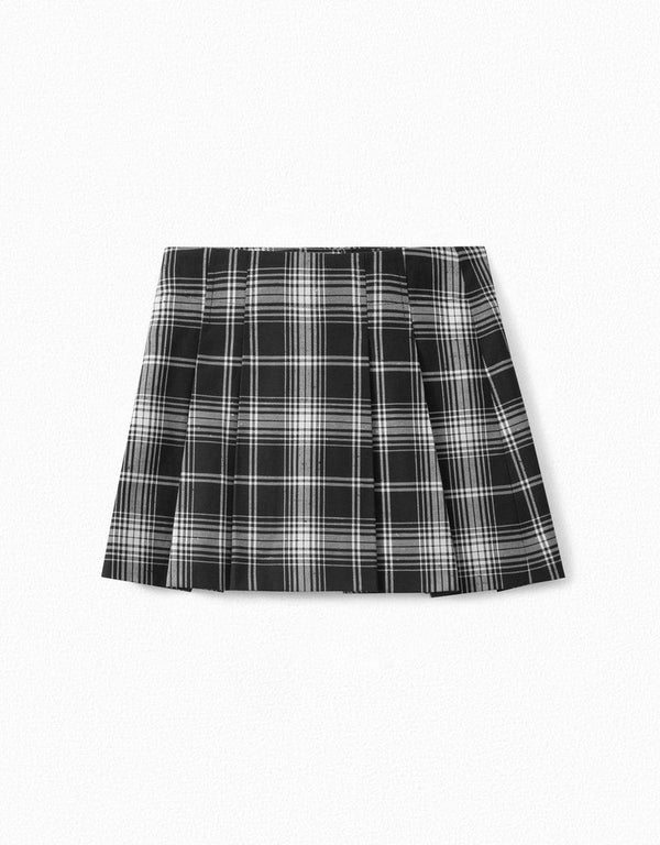 Girls Black Check Skirt