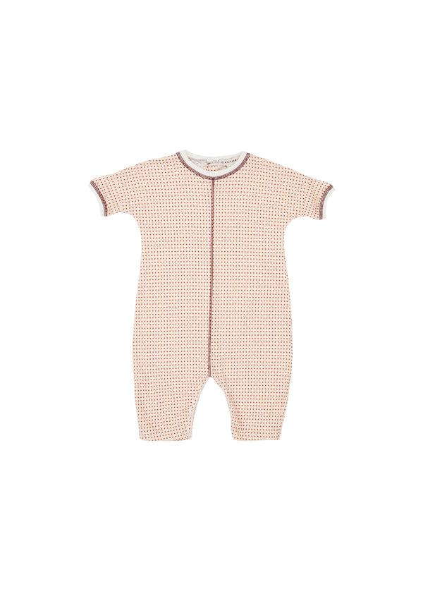 Baby Girls Light Pink Check Cotton Babysuit