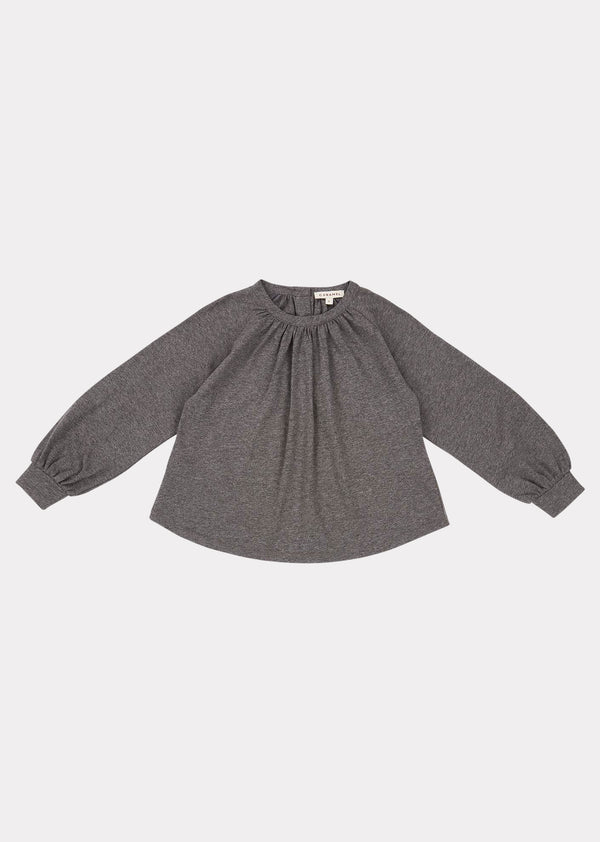 Girls Grey Melange Heron Blouse