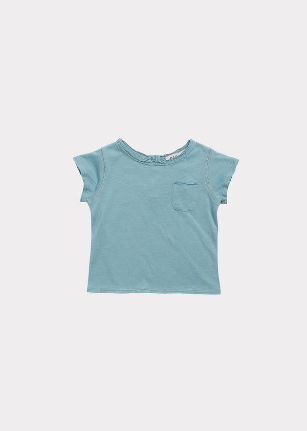 Baby Boys & Girls Light Blue Cotton T-shirt