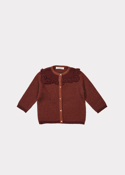 Baby Girls Burgundy Cotton Cardigan