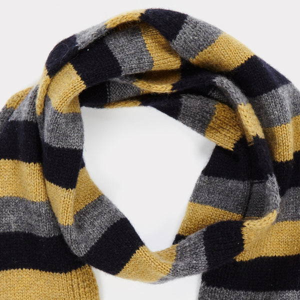 Boys Grey Melange Stripe Scarve
