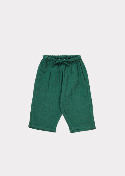 Baby Dark Green Cotton Woven Trousers