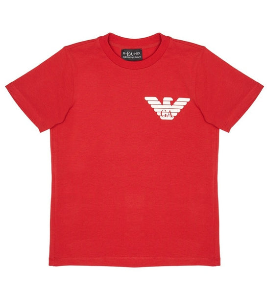 Boys Red Logo Cotton T-shirt