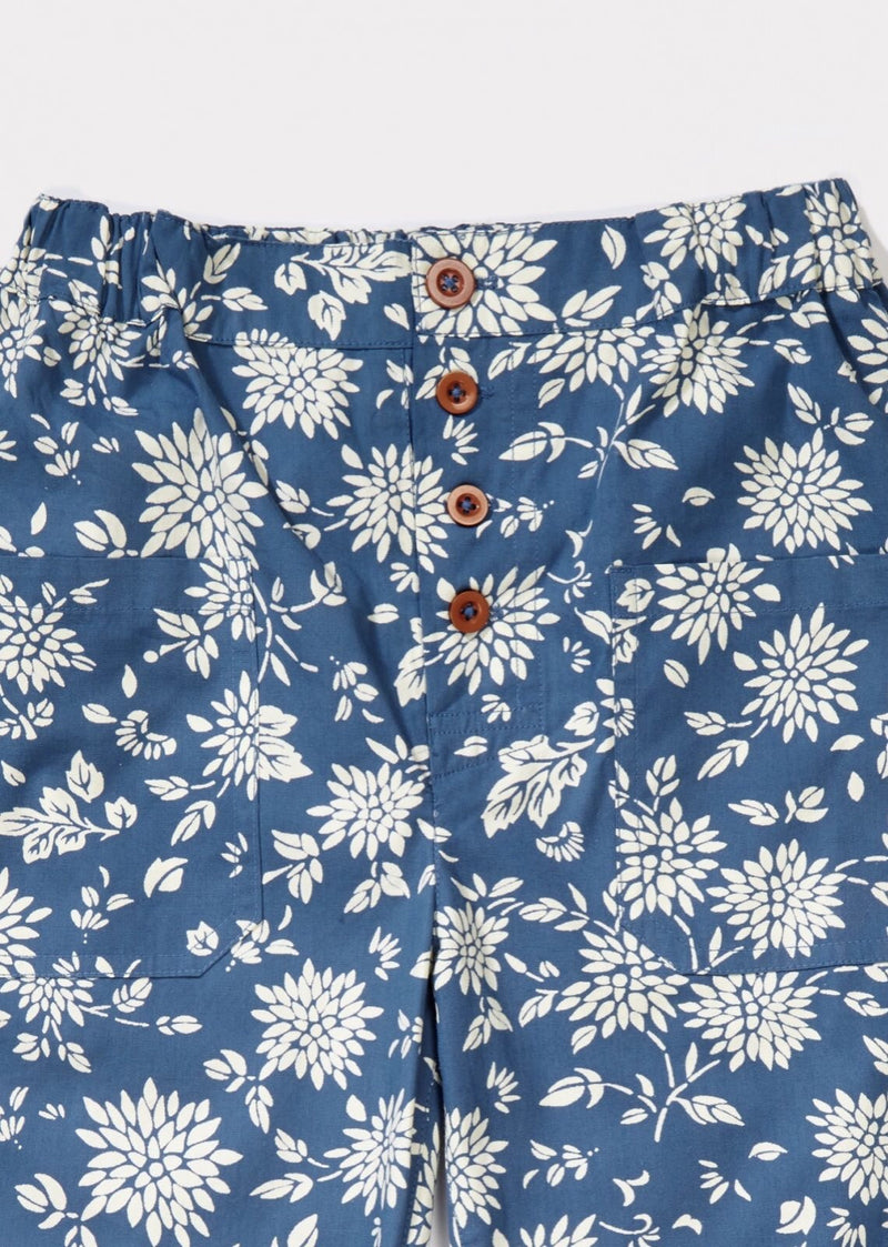 Boys & Girls Blue Flower Printed Trousers
