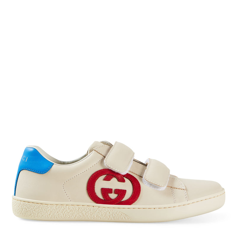Boys & Girls White GG Logo Leather Shoes