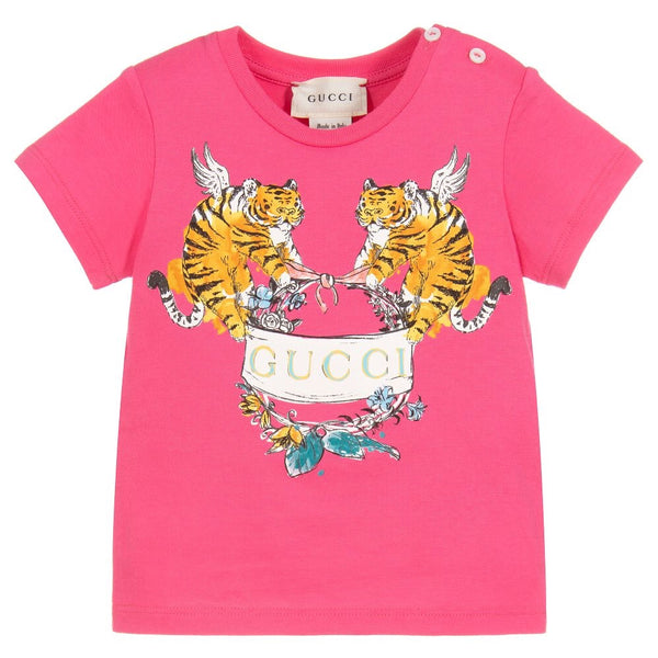 Baby Girls Pink Printed Cotton T-shirt