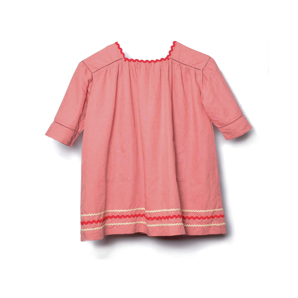 Girls Brick Red Linen Dress