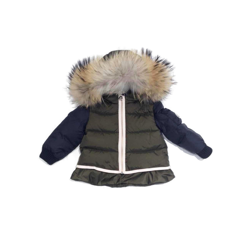 "Baby  Girls  Army Green  &  Blue  ""Passant  Giubbotto""  Coat"