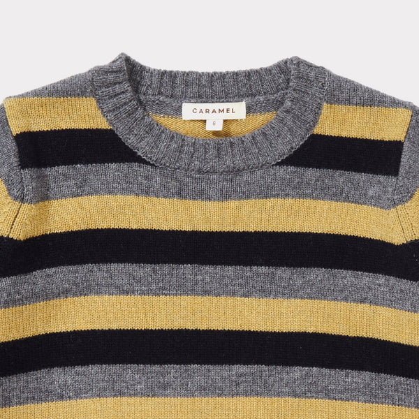 Boys Grey Melange Striped Sweater
