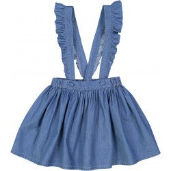 Girls Blue Chambray Cotton Skirt