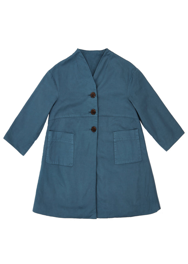 Girls Blue Buttons Cotton Coat