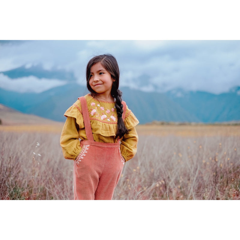 Girls Yellow Embroidered Cotton Blouse